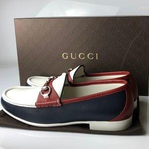 Gucci Horsebit Mirosoft Leather Blue Loafers G09.5